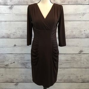 David Meister Brown Jersey Ruched Sheath Dress 4